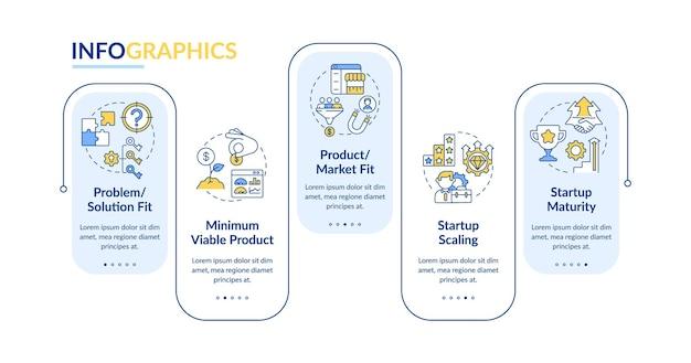 Шаблон инфографики вектор фаз жизненного цикла запуска. элементы дизайна схемы бизнес-презентации. визуализация данных за 5 шагов. информационная диаграмма временной шкалы процесса. макет рабочего процесса с иконками линий