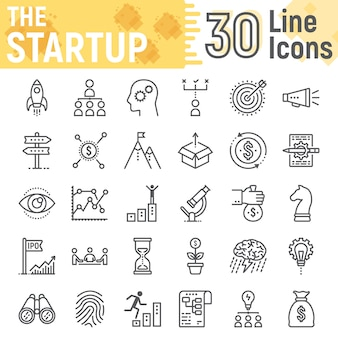 Startup line icon set, development symbols collection