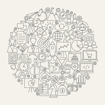 Startup line icons circle. vector illustration of business outline objects.