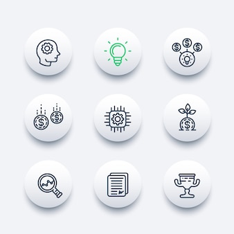 Startup line icons set, creative process, idea, initial capital, funding, innovation, investing, growth, analytics, business success