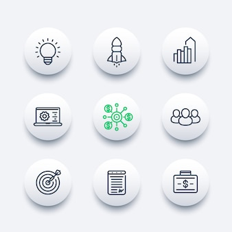 Startup line icons set, product launch, development, funding, initial capital, contract, target market, customers