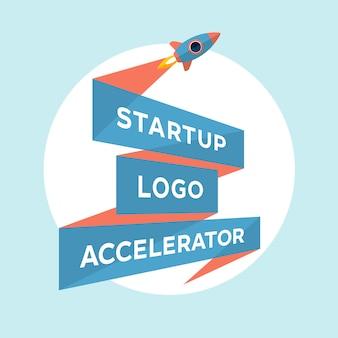 Концептуальный дизайн для запуска проекта с надписью startup logo accelerator