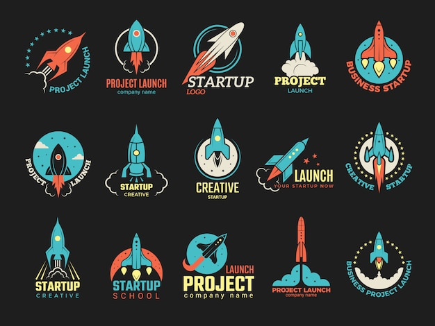 Startup logo. business launch perfect idea spaceship rocket shuttle startup symbols  colored badges