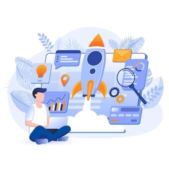 Запуск нового бизнеса плоский дизайн концепции иллюстрации