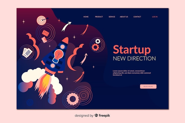 Startup new direction landing page