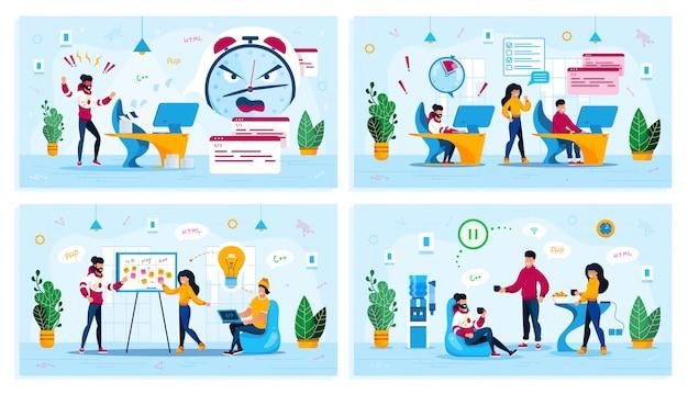 Набор цифровых жизненных концепций startup office