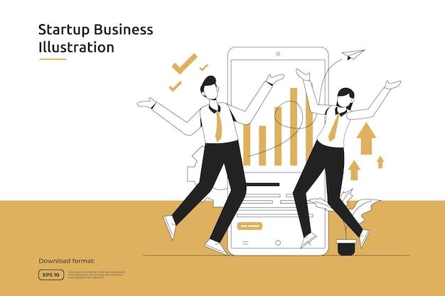 スタートアップの機会、投資ベンチャー、ファイナンシャルアドバイザー、事業立ち上げ、フランチャイズ、メンタリングのコンセプト。成功と経済成長の比喩フラットデザインウェブランディングページまたはモバイルウェブサイト