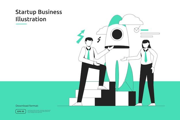 スタートアップの機会、投資ベンチャー、ファイナンシャルアドバイザー、事業立ち上げ、フランチャイズ、メンタリングのコンセプト。成功の比喩フラットデザインウェブランディングページまたはモバイルウェブサイト