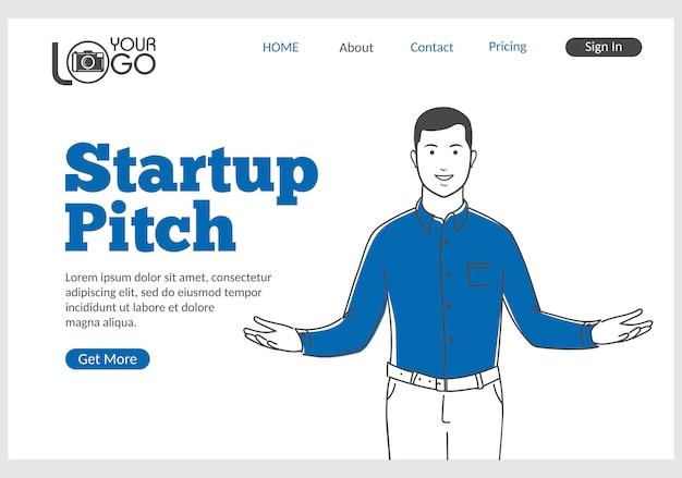 얇은 선 스타일의 startup pitch 방문 페이지.