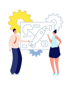スタートアップの計画。若いビジネスマン、抽象的なスキームに近い起業家。成功したコラボレーション、チームワークベクトルの概念。起業プロジェクト、管理事務所起業家イラスト
