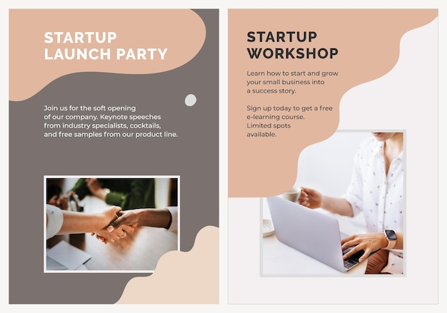 中小企業のためのスタートアップポスターテンプレートベクトル