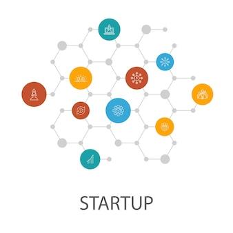 スタートアッププレゼンテーションテンプレート、カバーレイアウト、インフォグラフィック。クラウドファンディング、事業立ち上げ、モチベーション、製品開発アイコン