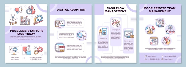 Startup problems brochure template. digital adoption. flyer, booklet, leaflet print, cover design with linear icons. vector layouts for presentation, annual reports, advertisement pages