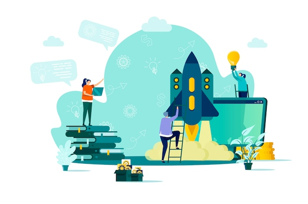 Startup project concept in  style with people characters in situation