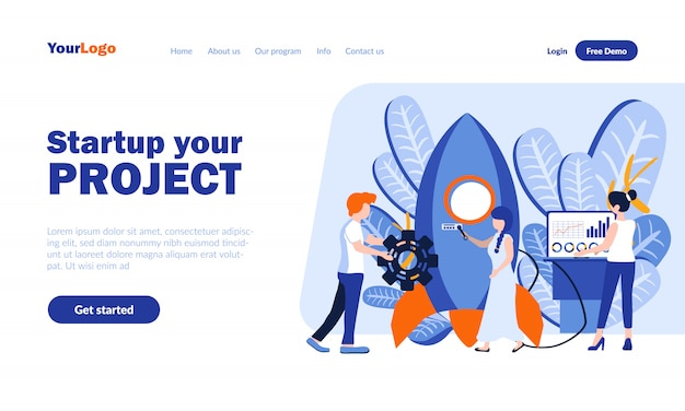 Startup, project creation vector landing page  with header