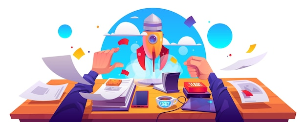 Startup project launch, business innovation idea realization, development. rocket take off with smoke cloud from working place with documents, male hand push start button, cartoon vector illustration.