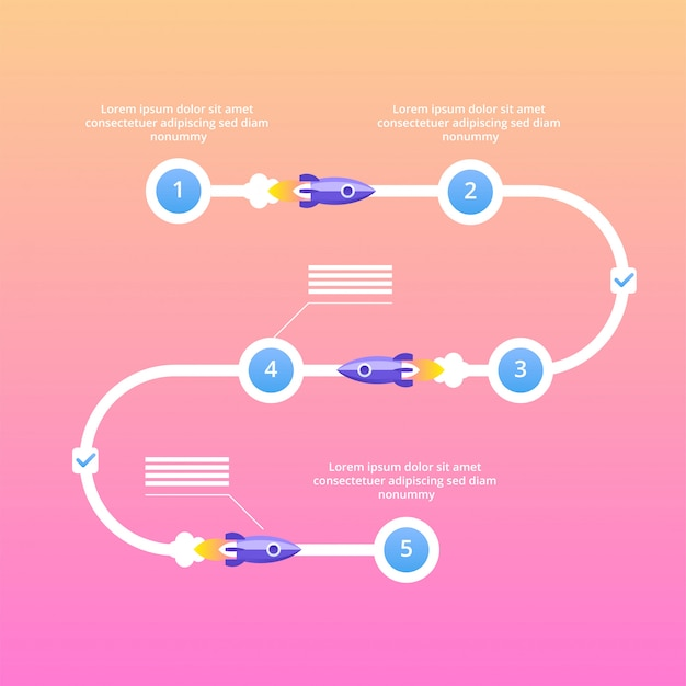 Startup project steps infographics. vector flat illustration