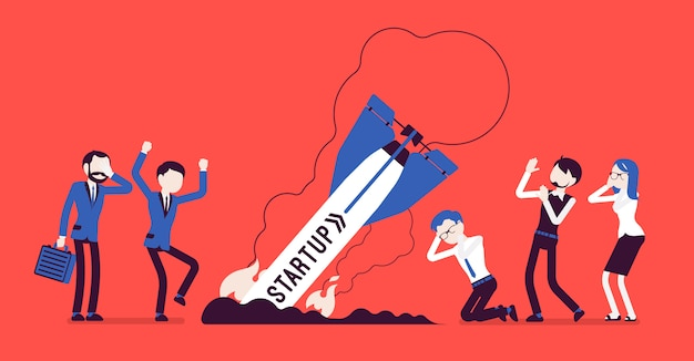 Startup rocket crash banner