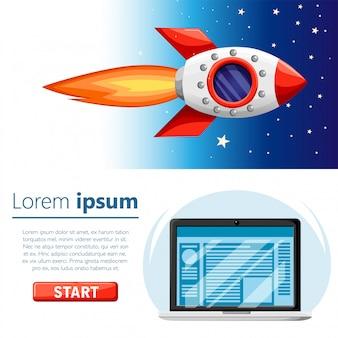 起動 。宇宙を飛んでいるロケット。ラップトップまたはノートブックコンピュータ。コンセプトスタートアッププロジェクト。赤いボタンのイラスト。 webサイトページとモバイルアプリ