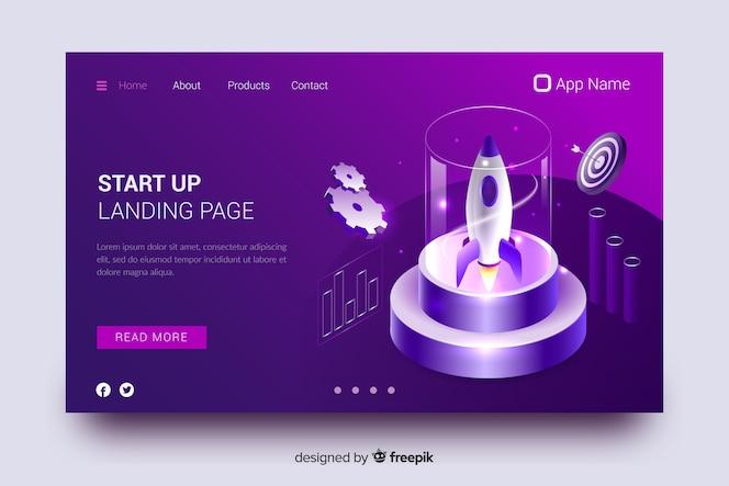 Startup rocket landing page