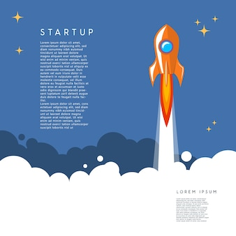 Startup. rocket launch illustration in cartoon style.