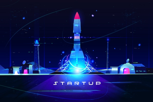 Startup rocket, launch of marketing idea, new company launching