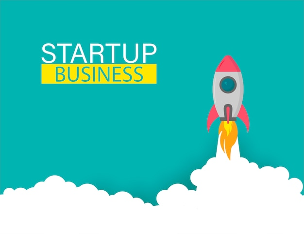 Startup rocket up business project,