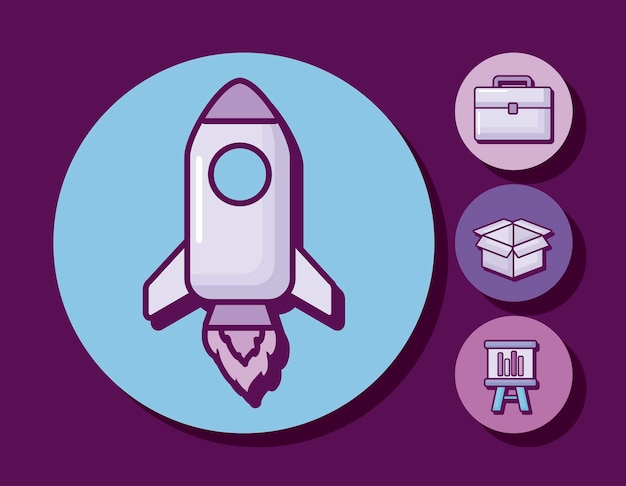 Startup rocket with business icons