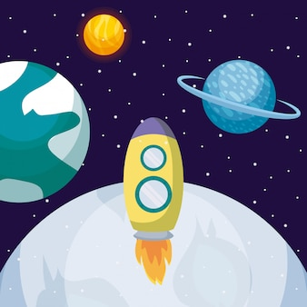 Startup rocket with moon and planets