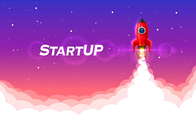 Startup space rocket launch art creative idea. vector illustration