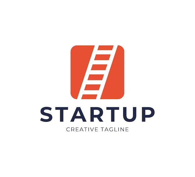 Startup step stairs ladder logo design