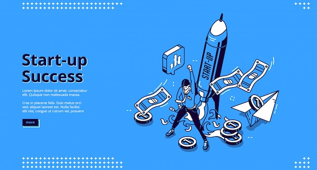 Startup success banner. concept of successful launch and management business project, growth company.