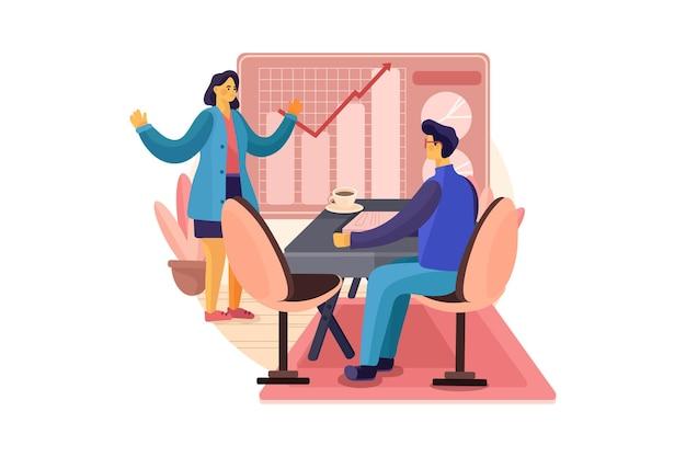 Команда стартапа обсуждает отчет о росте
