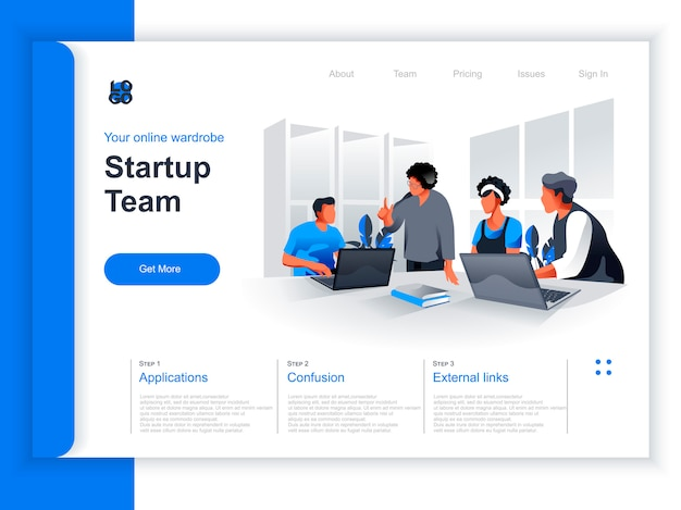 Startup team meeting isometric landing page. team of colleagues discussing new project in office situation. productive corporate teamwork, brainstorming and strategy planning perspective flat design.