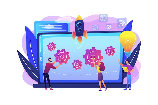 Startup team receive mentoring and training to accelerate growth and laptop. startup accelerator, seed accelerator, startup mentoring concept. bright vibrant violet  isolated illustration