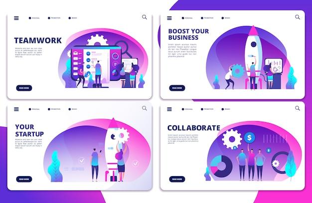 スタートアップ、チームワーク、コラボレーションランディングページテンプレート