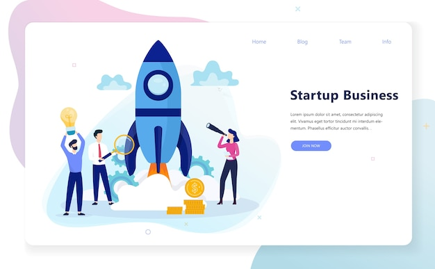 Startup and teamwork concept web banner. business profit