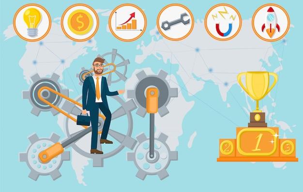 Startup technologies. vector flat illustration.