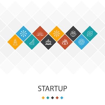 スタートアップのトレンディなuiテンプレートのインフォグラフィックの概念。クラウドファンディング、事業立ち上げ、モチベーション、製品開発アイコン