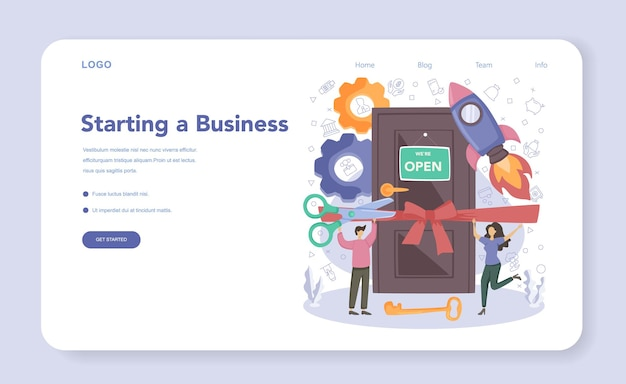 Startup web banner or landing page. new business launching.