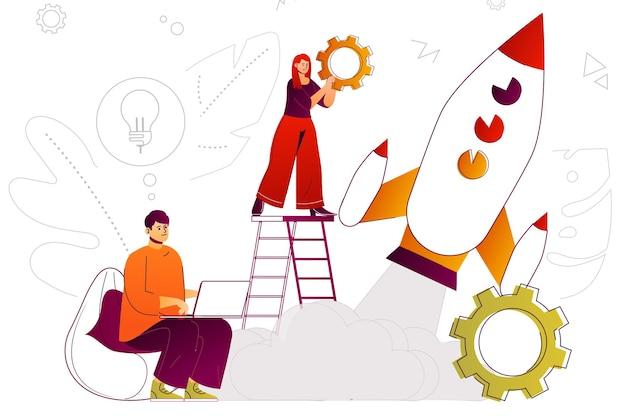 시작 웹 개념 팀은 성공과 성장을 위한 새로운 비즈니스 전략을 개발합니다.