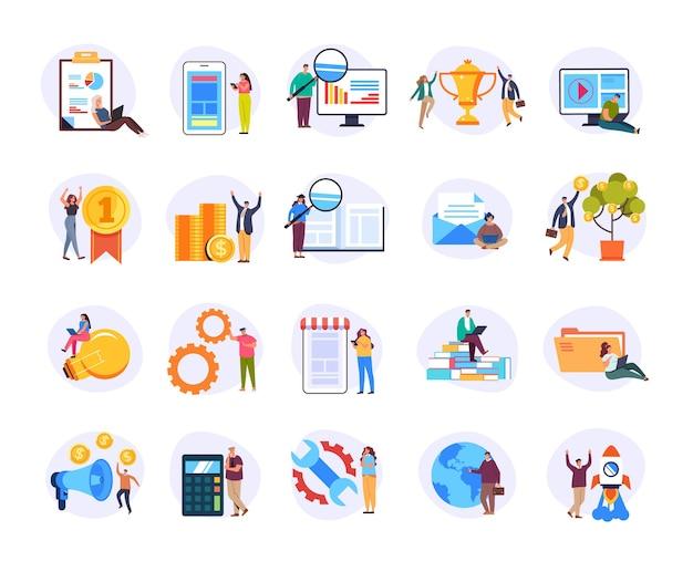 Запуск веб-дизайна разработка финансов аналитика развитие бизнеса маркетинг изолированных иллюстрация набор