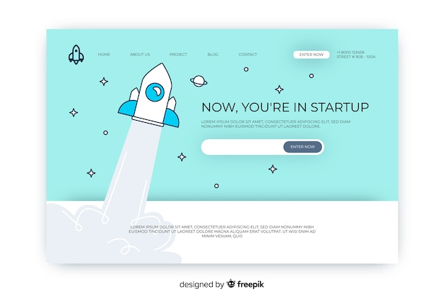 Startup with space rocket landing page