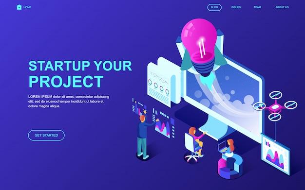 Современный плоский дизайн изометрической концепции startup your project