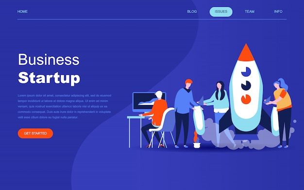 Современная плоская дизайнерская концепция startup your project