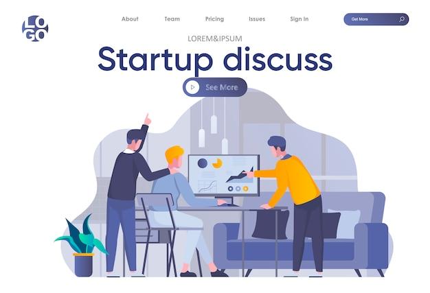 Startup обсудить целевую страницу с заголовком. партнеры обсуждают проект, сотрудничество команды стартапа и работу с аналитикой в офисе. коворкинг и работа в команде ситуации плоской иллюстрации