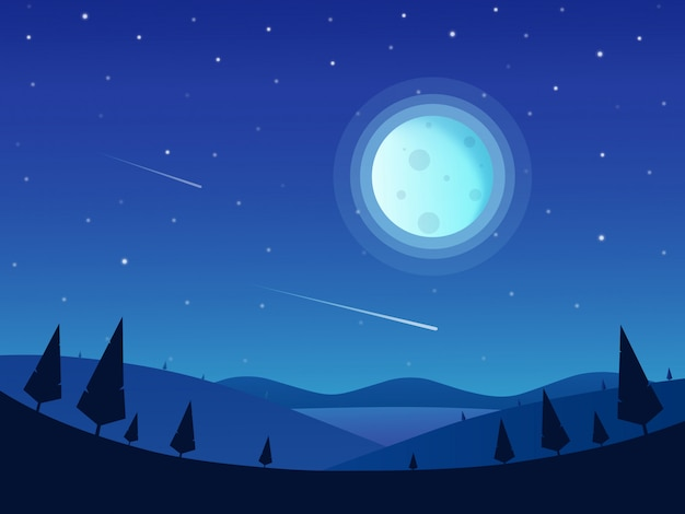 満月とstaryの空と夜の自然の風景