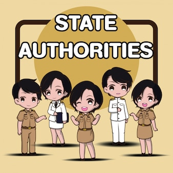 State authorities., cute government cartoon character. white suit.