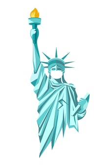 State of liberty with put white face mask