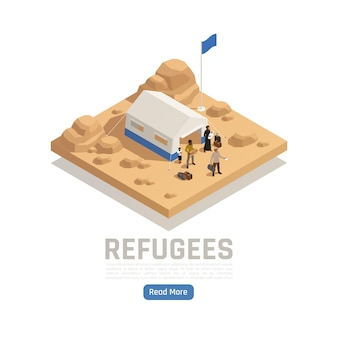 Stateless refugees asylum isometric illustration with tent of reception camp and people